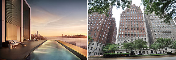 From left: rendering of the penthouse pool at 551 West 21st Street and 778 Park Avenue