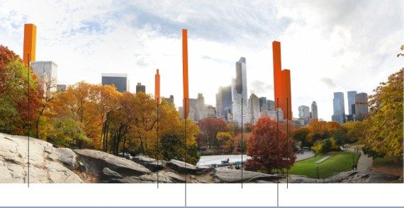 A visualization of new developments around Central Park (Credit: Accidental Skyline via Curbed)