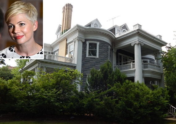 1440 Albermarle Road in Prospect Park South (inset: Michelle Williams)