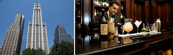 The Woolworth building and the Library Bar at the Lanesborough Hotel in London -- the city's ritziest hotel