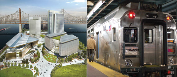 "Left: The $2 billion Cornell Tech ""applied sciences"" campus broke ground on Roosevelt Island in June. Right: New Jersey Transit's link to Manhattan is through 100-year-old tunnels owned by Amtrak that are operating over capacity and were severely damaged by Superstorm Sandy. The fight to add a second tunnel predates the storm."