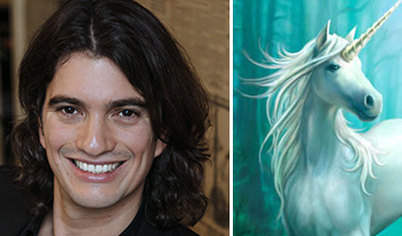 From left: Adam Neumann and a unicorn (the term for startups that reach a $1 billion valuation)