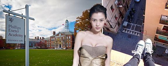 From left: Philip Exeter Academy, Angela Yeung and an Instagram pic from the edge of a roof