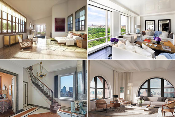 Clockwise from top left: 36 Bleecker Street, 1 Central Park West, 275 West 10th Street and 784 Park Avenue