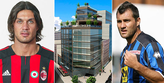 From left: Paolo Maldini, rendering of 219 Hudson Street and Christian Vieri