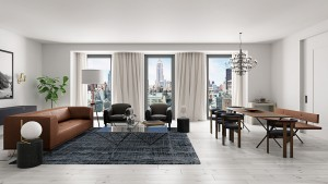 A rendering of a unit at Toll Brothers 55 West 17th Street.