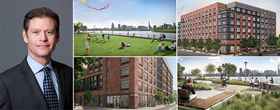 From left: Brookfield's global head of real estate Ric Clark and renderings of Greenpoint Landing