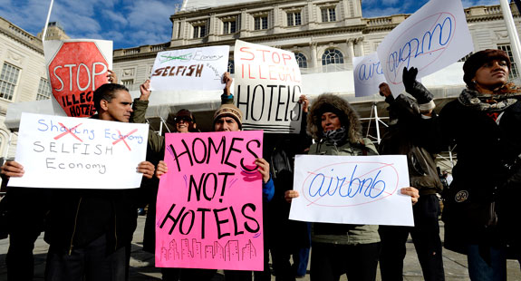 An anti-Airbnb protest