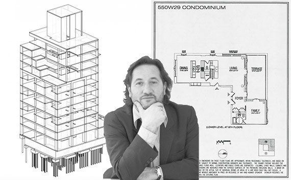Cary Tamarkin and a rendering/floor plan for 550 West 29th Street