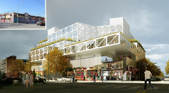 Rendering of 71 White Street in Bushwick (credit: ODA) (inset: industrial building at site)