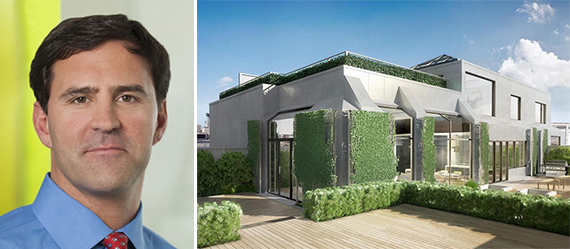 Greg Blatt and the penthouse terrace at 415 Greenwich Street in Tribeca