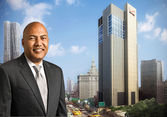 NYC Department of Finance Commissioner Jacques Jiha and a rendering of 375 Pearl Street