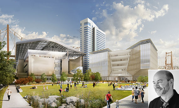 Rendering of Cornell Tech (inset: Craig Dykers of Snøhetta)