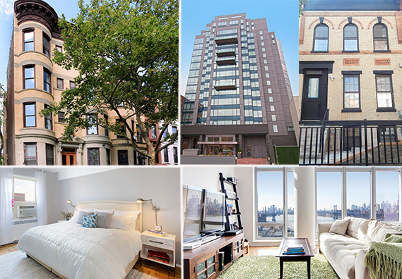 From top left: 371 First Street #1L in Park Slope, 108-20 71st Avenue #16A in Forest Hills, 2196 Dean Street in Crown Heights, PC 510 Unit 04-H in Stuy Town and 2 Northside Piers 23D in Williamsburg