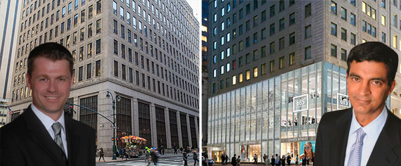 Brookfield Property Partners CEO Brian Kingston, GGP CEO Sandeep Mathrani with 685 Fifth Avenue and a rendering of 730 Fifth Ave
