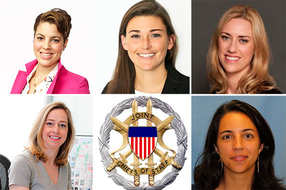 Clockwise from top left: Natalie Diaz, Lexie Hearn, Leslie Fox, Clare Newman, Joint Chiefs of Staff ID badge and Ashley Cotton