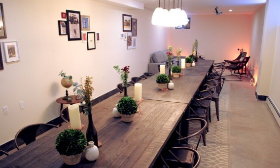 The dining room at Common's first complex at 1162 Pacific Street in Crown Heights