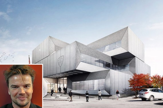 Rendering of the 40th precinct police station in the Bronx (inset: Bjarke Ingels)