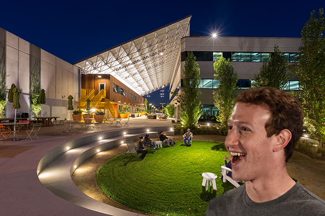 The Playa Jefferson campus in Playa Vista and Facebook CEO Mark Zuckerberg
