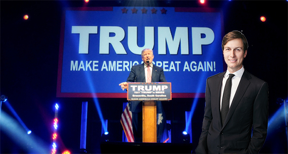 Donald Trump speaking in Greenville, SC (credit: Donald Trump campaign) and Jared Kushner