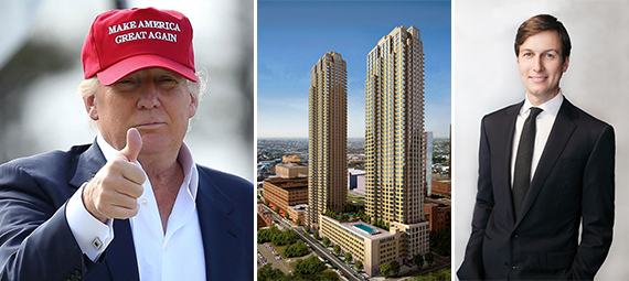 Donald Trump, a rendering of the Trump Bay Street in Jersey City and Jared Kushner