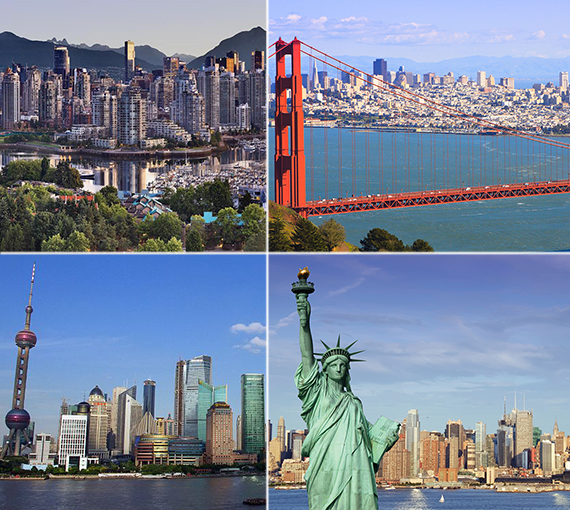 Clockwise from top left: Vancouver, San Francisco, New York City and Shanghai