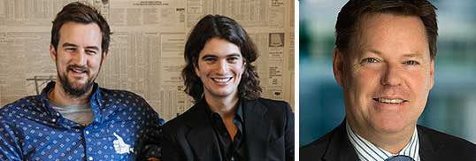 From left: WeWork co-founders Adam Neumann, left, and Miguel McKelvey and Steve Mccann, CEO of Lend Lease Group