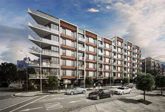 Rendering of 125 Borinquen Place in Williamsburg (credit: De-Jan Lu Architects)