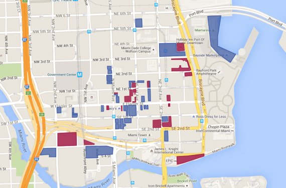 Recent Miami commercial property sales, with those purchased by New York-based investors in blue