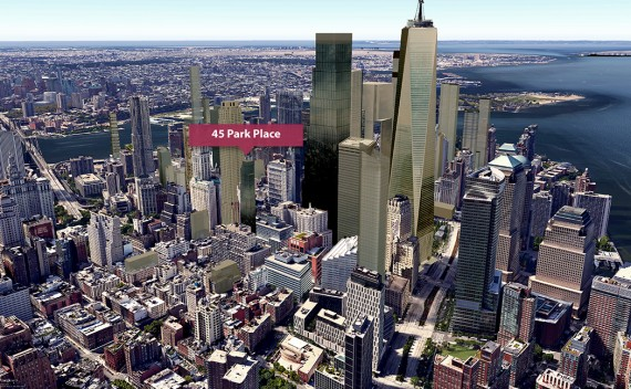 "A visualization of the ""new Downtown"" skyline with 45 Park Place (Credit: CityRealty)"
