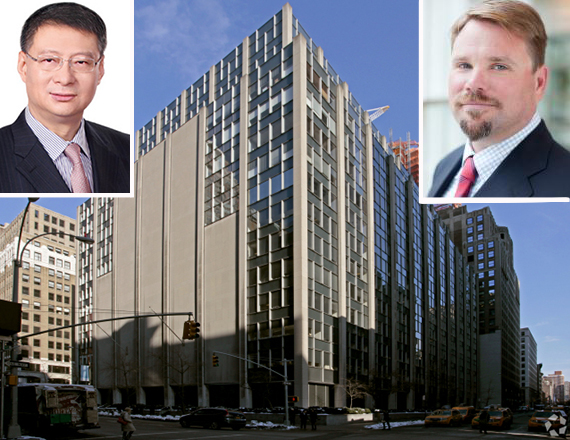 63 Madison Avenue in Midtown South (inset: Bank of China President Li Lihui and Jamestown's Michael Phillips)