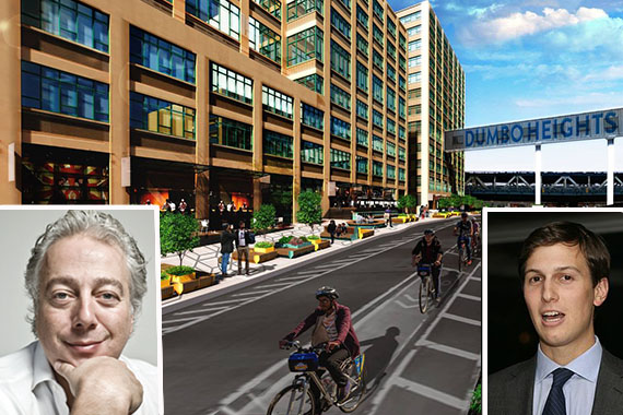 Rendering of planned public space along Sands Street in Dumbo (credit: Fantastica) (inset: Aby Rosen and Jared Kushner)
