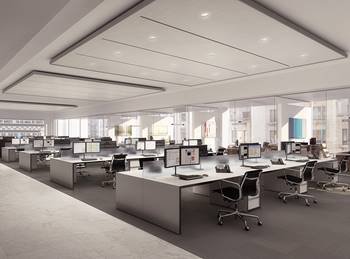 A rendering of offices above the retail space at 40 East 57th Street