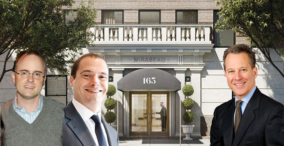 From left: John Arrillaga Jr, Douglas Eisenberg and Eric Schneiderman with 165 West 91st Street on the Upper West Side