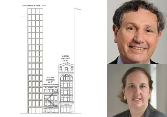 Drawings for 38-42 West 18th Street (inset from top: Carl Weisbrod and Gale Brewer)