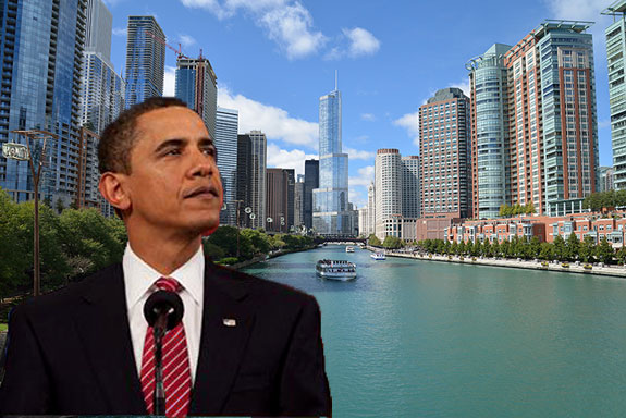 Obama and the Chicago skyline