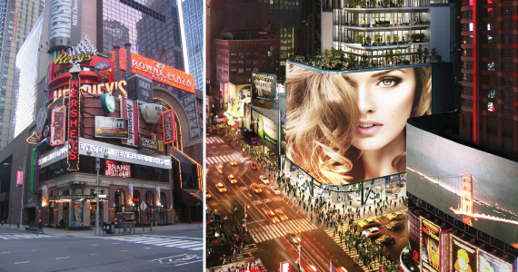 From left: current Hershey Times Square location at 48th Street and Broadway and rendering of 20 Times Square