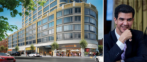 Rendering of 4650 Broadway and Ydanis Rodriguez
