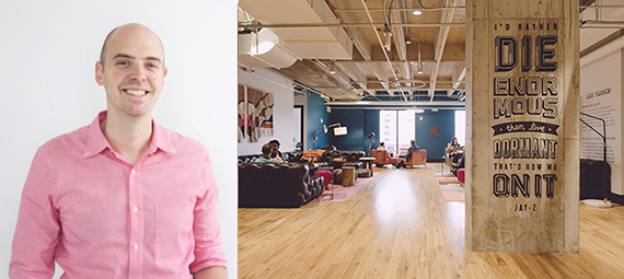 From left: David Fano and a WeWork space