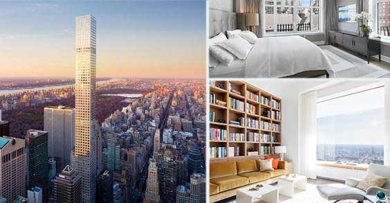 Clockwise: Rendering of 432 Park Avenue, 132 East 65th Street penthouse and inside unit 82A at 432 Park Avenue