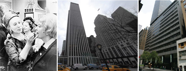 From left: Estée Lauder with a customer, 767 Fifth Avenue and 110 East 59th Street