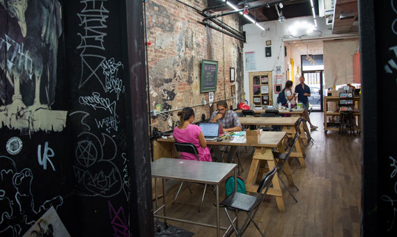 One of the co-working areas at Con Artist Collaborative (Photo for The Real Deal by Michael Hicks)