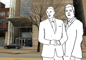 Illustration of Lawyers outside of the Bronx Housing Civil Court