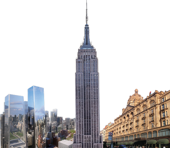 From left: Brookfield's Manhattan West project, The Empire State Building, the crown jewel in the ESRT portfolio and London's famed Harrods department store