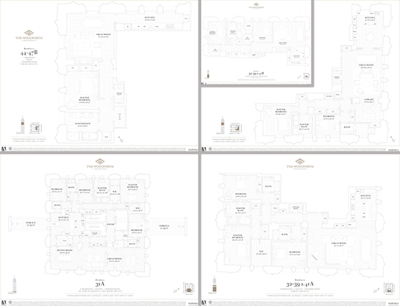 Clockwise from left: the floorplans of a 1, 2, 2 plus library, 3 and 4 bedroom units at the Woolworth Building (click to enlarge)
