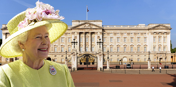 Buckingham Palace (inset: Queen Elizabeth II)