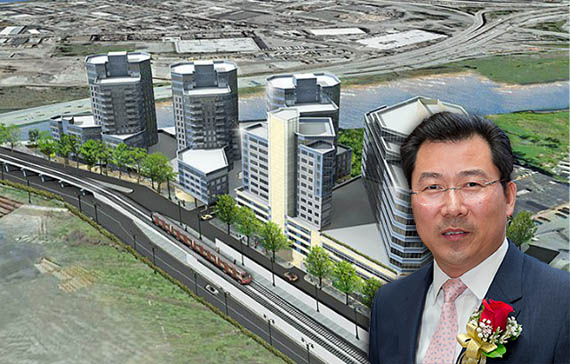 Rendering of River Park Place, (credit: Ismael Levya) and Chris XU
