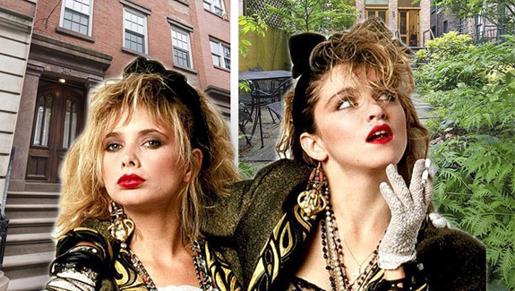 "Rosanna Arquette and Madonna in ""Desperately Seeking Susan"" and the home at 240 West 21st Street (credit: Orion Pictures)"