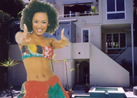 Melanie Brown as Scary Spice and the home on Cordell Drive