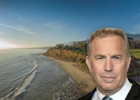 Kevin Costner and the ocean front property at 2825 Padaro Lane (Image credits: Bill Ingalls via Wiki Commons and Coldwell Bankers)
